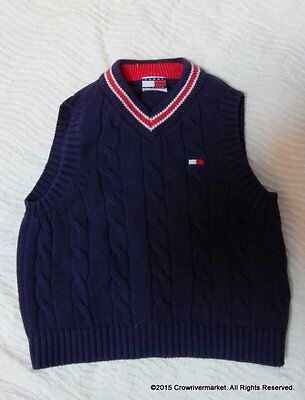 Tommy Hilfgier Navy Blue Red V Neck Cotton Cable Knit Boys Sweater Vest 2T