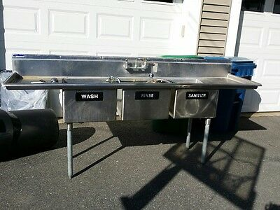 Stainless Steel 3 Bay Sink w/ Right and left Drainboard
