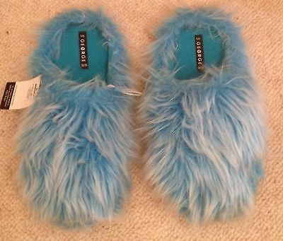 Ladies Fluffy Slippers Blue With White Fleck Size 5 - 6 (Medium) New