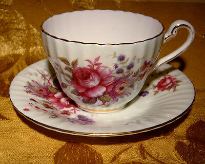 Paragon Pale Green Cup & Saucer Floral Bouquet Pink Rose Made In England