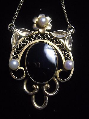 Vintage Onyx Pearl gold filled filigree necklace mourning style flowers ornate