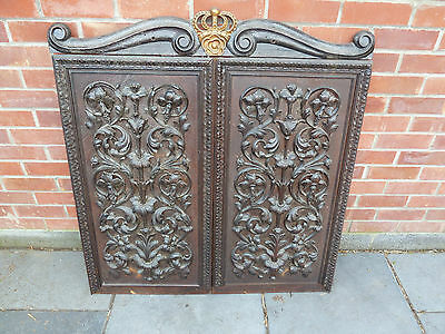 antique carved wood gold crown top wall decoration  oak / mahogany / walnut ???