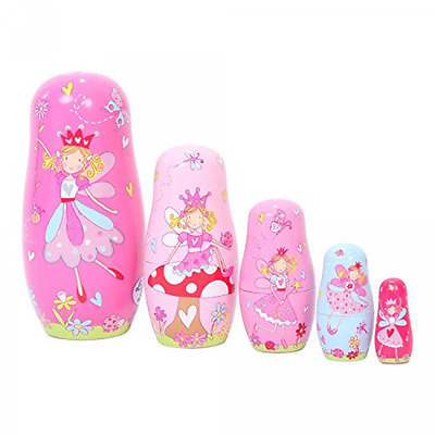 Veewon Nesting Doll Handmade Wooden Fairy Russian Style Toy Set - 5pcs