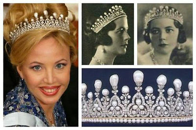 Vintage Reproduction 24.50cts  Rose Cut Diamond Jewelry Silver Pearl Royal Tiara