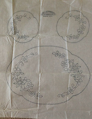 Vintage embroidery transfers, shadow work, dressing table set, Briggs, iron on