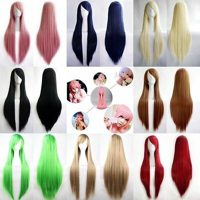 "New Fashion Womens Wig Long Straight Anime Cosplay Party Wig 80cm/32"" Multicolor"