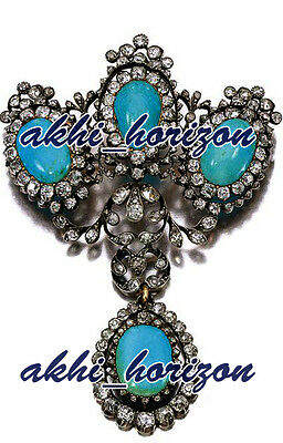 Antique Look 43.25cts ROSE CUT DIAMOND TURQUOISE WEDDING STERLING SILVER BROOCHE