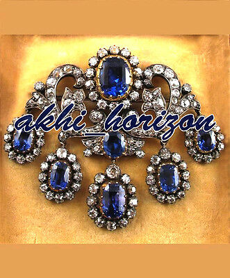 Antique Look 67.85cts ROSE CUT DIAMOND SAPPHIRE WEDDING STERLING SILVER BROOCHE