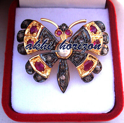 20.82cts ROSE CUT DIAMOND GEMSTONE ANTIQUE WEDDING .925 SILVER BUTTERFLY BROOCHE