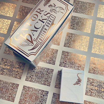 2 xGOLD GATORBACKS playing cards DAVID BLAINE gold foil deck EDITION DOREE magic