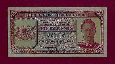 Mauritius 50 Cents 1940 P-25 Vf+   -  Seychelles