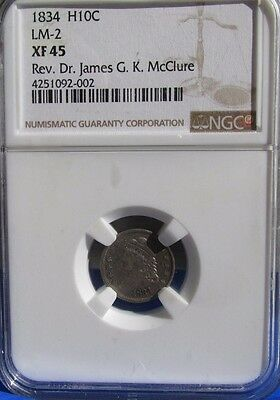 1834 H10c Capped Bust Half Dime NGC XF 45