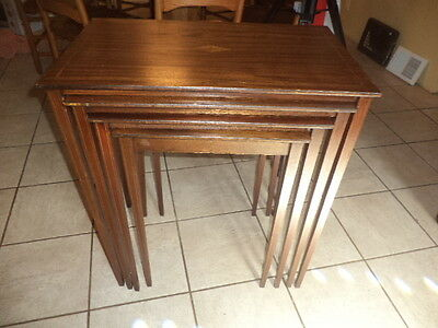 Antigue 4 Pc. Set Of Mahogany Inlaid Nesting Table With Pembrooke Style Legs