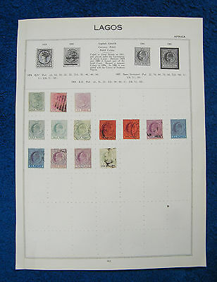 Very Old Album Page with Lagos, Nigeria QV and KEVII Stamps.