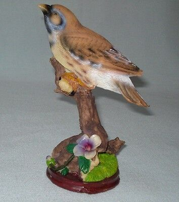 "Pretty Brown Finch Resin Bird Figurine - Finch Bird On A Tree Branch - 6.5"" high"