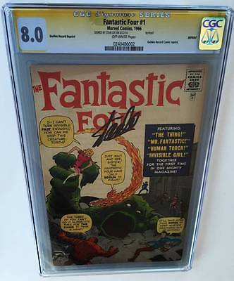 Fantastic Four #1 Golden Record Reprint CGC 8.0 SS Signed by STAN LEE (1966)