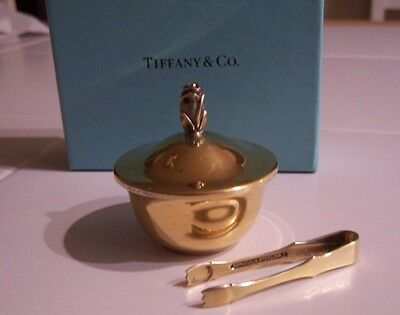 Tiffany & Co Sterling Silver Small Dish With Lid And Tongs - Gold Finish