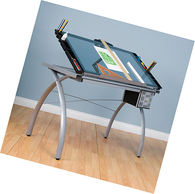 Studio Designs 10050 Futura Craft Station, Silver/Blue Glass, Drafting Table