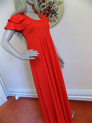 Amazing 70s Vintage Red Empire Line Dress Designer Van Allan Size 8-10