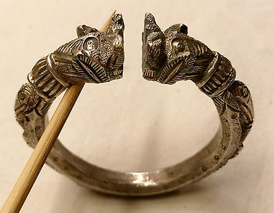 Antique Chinese Solid Silver Foo Dog or Dragon Bracelet 166 grams