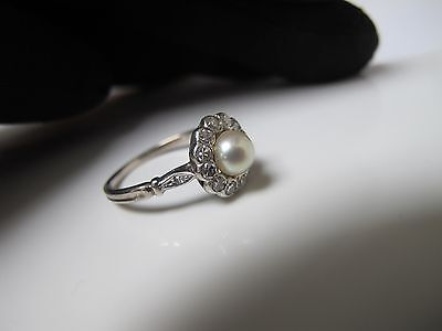 French antique 18ct white gold natural pearl diamond ring