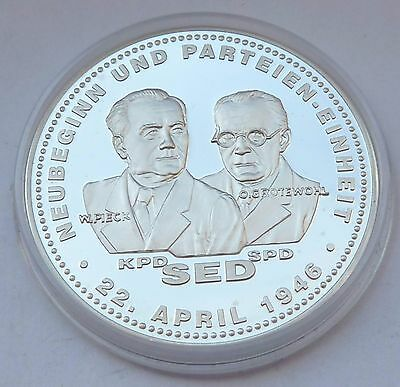 O.Grotewohl SPD & W.Pieck KPD -  Parteitag 1946 Silber 999 -  wenige Exemplare !