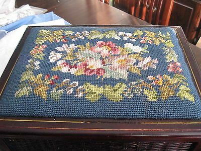 Beautiful vintage wooden sewing box with embroidered top