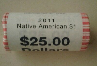 2011  $25 Roll of NATIVE AMERICAN $1 Golden Dollar Coin