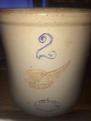Antique Red Wing Minnesota Union Stoneware 2 Gallon Crock Large wing  very nice!
