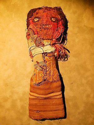Rare 1800's Antique Hand-Woven South American Folk Art Indian Chancay Doll baby
