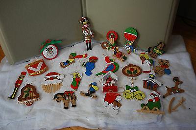 Huge Lot of Vintage Wooden Christmas Ornaments