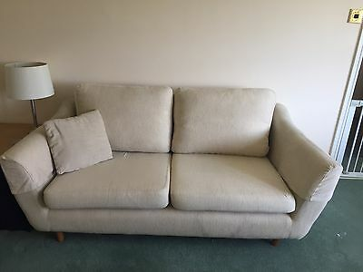 Cream Chenille Sofas 2+3 Seater+ Footstool