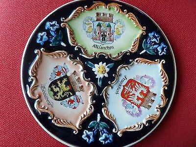 Antique ? German Charger Flowers Crests Munich Munchen Frankfurt Heidelberg