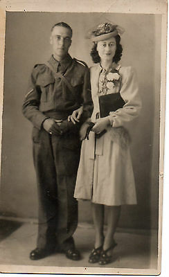"""Soldier & Wife Wedding"" 1940's Photograph, Postcard"