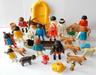 Playmobil Lot Personnages Animaux + Canoe + Bateau + Totem