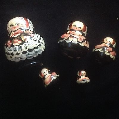 Vintage Hand Painted Wooden Russian Dolls Nesting Dolls Unusual.