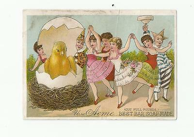 Hatching Chick Dancing Girls Acme Bar Soap Victorian Trade Card