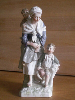 Kpm Berin Porcelain Hand Painted Figure Group Of Mother With Two Children