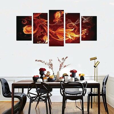 Modern Framed Abstract Art Print on Canvas Painting Home Wall Decor Flame Framed