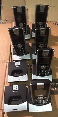 6x Snom M9 Cordless Handset VOIP Phone + 8x Snom M9 Charger Base- No AC Charger