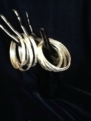 10 Silverplated  Stamped Mexico Bangles Lot. Vintage 1980s