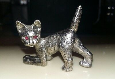 Small Silver Cat Ornament with Red Crystal Eyes