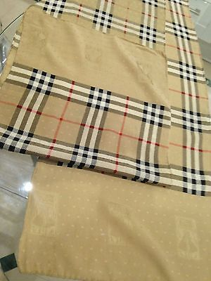 Burberry Ladies Pure Silk Scarf, vintage 1980s, classic tan Burberry check