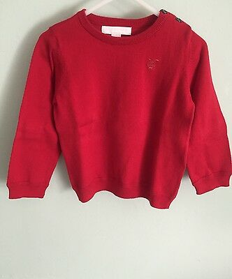 Burberry Sweater Red Size 2T Girls. Plaid Patches On Elbow
