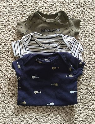 Lot of 3 Carter's Infant Baby Boy Short Sleeve Onesies Size - 3 Months