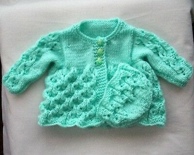 Baby Hand Knitted Cardigan - Matinee Coat and Hat