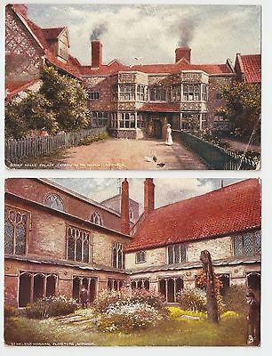1905 Two Tuck's Oilettes Of Old Norwich Bishop Hall's Palace & St. Helen's Hosp
