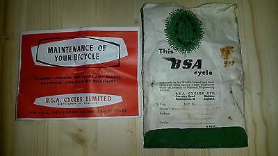BSA Maintenance of Your Bicycle and BSA guaranatee wallet