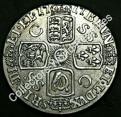 GEORGE I SCARCE 1717 HALFCROWN SIXPENCE BRITISH SILVER COIN GF/aVF UNKNOWN ?