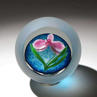 """Gorgeous LIMITED EDITION 1984 Correia Art Glass Paperweight """"ORCHID"""""""